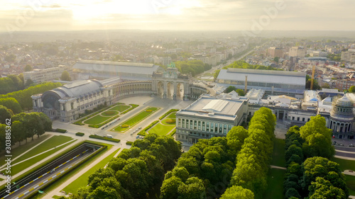 Garden Poster Brussels Brussels, Belgium. Park of the Fiftieth Anniversary. Park Senkantoner. The Arc de Triomphe of Brussels (Brussels Gate), Aerial View