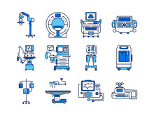 Medical Devices Line Color Icons Set. MRI, Anesthesia Machine, Syringe Pump, Dropper, Defibrillator, Signs For Web Page, Mobile App.