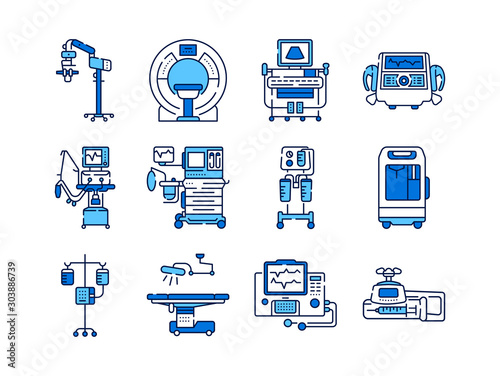 Medical devices line color icons set Canvas Print