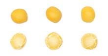 Set Split Peas Macro Isolated On White Background, Top View