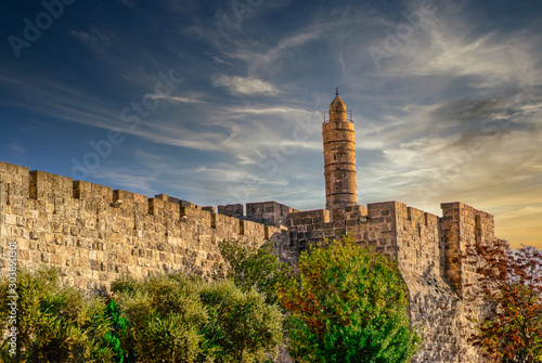 The Tower of David - Old city walls at night, Jerusalem.