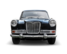 Classic British Car  Front View Isolated On White