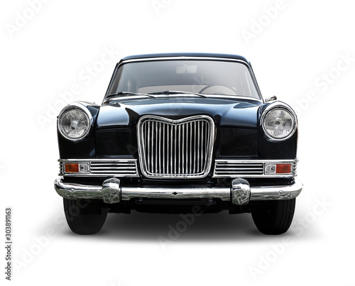 Fotografia Classic British car  front view isolated on white