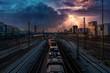 Bahnhof mit Zügen und Gewitter am Himmel