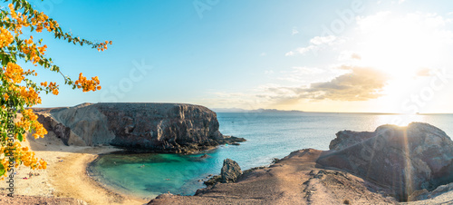 View  on Papagayo beach, Lanzarote, Canary Islands, Spain Fototapeta