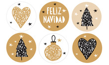 Feliz Navidad - Merry Christmas.Spanish Christmas Vector Stickers With Gold And Black Floral Bauble, Heart And Christmas Tree Isolated On A White And Gold Background.Simple Christmas Round Shape Tags.