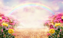 Fantasy Panoramic Photo Background With Pink And Yellow Rose Garden, Path Leading To Fabulous Rainbow Unicorn House. Idyllic Tranquil Morning Scene And Empty Copy Space. Road Goes Across Fairy Hills.