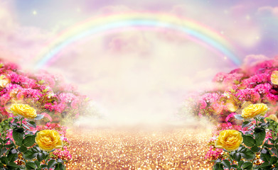 Fototapeta Romantyczny Fantasy panoramic photo background with pink and yellow rose garden, path leading to fabulous rainbow unicorn house. Idyllic tranquil morning scene and empty copy space. Road goes across fairy hills.