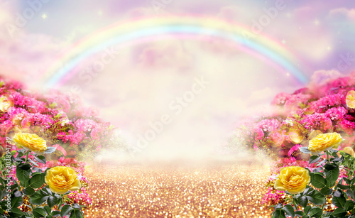 Fantasy panoramic photo background with pink and yellow rose garden, path leading to fabulous rainbow unicorn house Wallpaper Mural