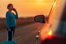 Woman Calling Roadside Assistance After Her Car Broke Down