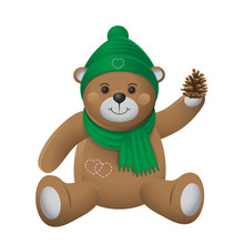 A Plush Toy Bear In A Cap And Scarf Holds A Bump In His Hand On A White Isolated Background. Vector Image.