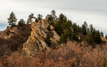 Beautiful Red Sandstone Rock Formation In Roxborough State Park, Denver, Colorado, At Sunset.