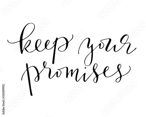 Phrases quote handwriting text keep your promises Canvas Print