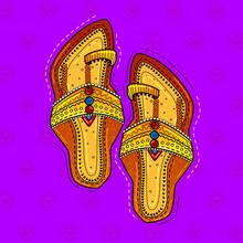 Illustration Of Desi (indian) Art Style Pair Of Kolhapuri Sandal.