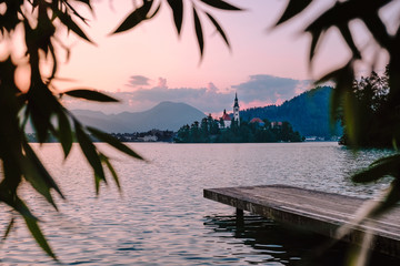 Sunrise at Lake Bled in Slovenia