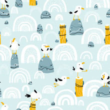 Seagulls On Stones And Pillars. Vector Seamless Pattern In Hand Drawn Scandinavian Cartoon Style. The Illustration In A Limited Palette Is Ideal For Printing On Fabric, Textiles, Wrapping Paper For