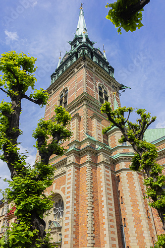 German church (Tyska kyrkan or Sankta Gertrud, XIV century) in Gamla stan - Old Town in central Stockholm Canvas Print