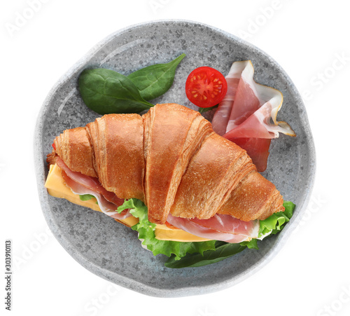 Fotografie, Obraz  Plate with tasty croissant sandwich isolated on white, top view
