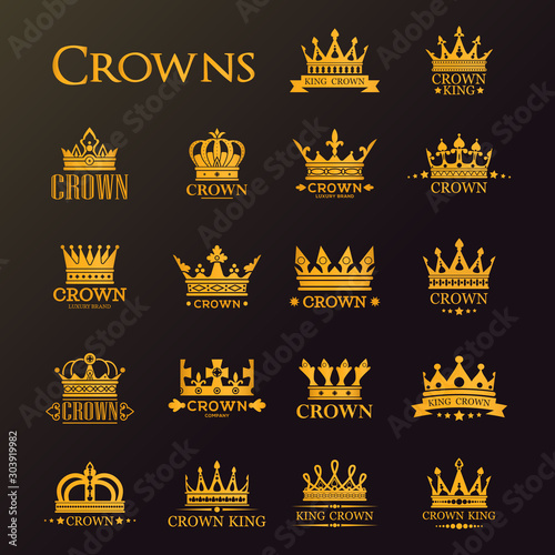 Leinwand Poster  Golden crowns and stars, heraldic royal icons
