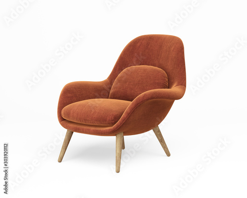 Valokuvatapetti 3d rendering of an Isolated orange modern lounge armchair