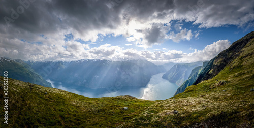 Aurlandsfjord panorama in glorious sunshine at a cloudy day Norway Canvas Print