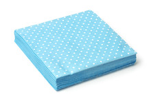 Stack Of Blue Dotted Napkins