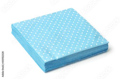 Fototapeta Stack of blue dotted napkins obraz