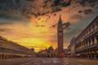 Scenic view of Piazza San Marco with dramatic colorful sky, Venice, Italy