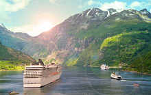 Cruise Ship In Norvegian Fjord