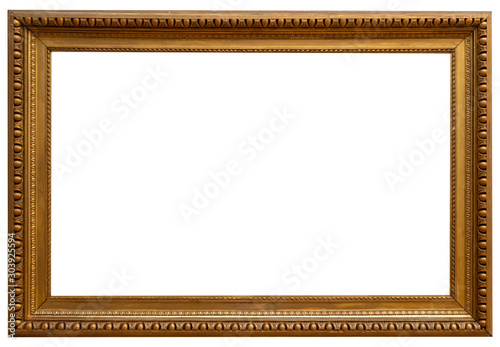 Gold vintage beautiful picture frame isolated on white background Wallpaper Mural