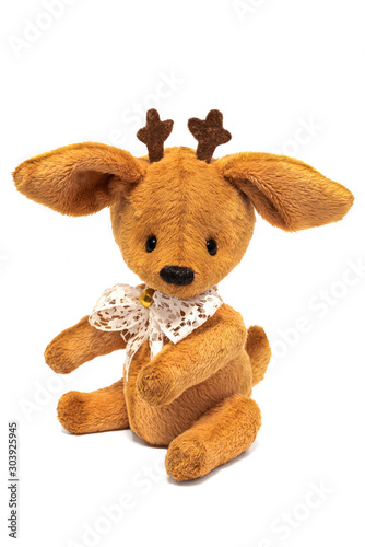 Handmade toy deer isolated on white background