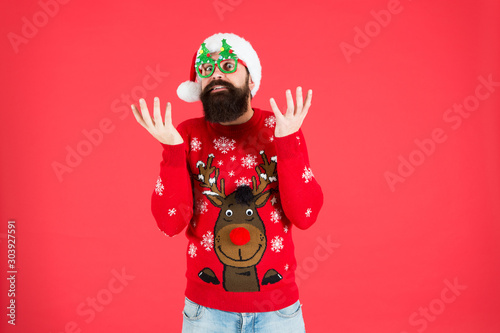 Hipster bearded man wear winter sweater and hat Fototapete