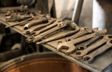 Old Rusty Wrenches And Tools O...