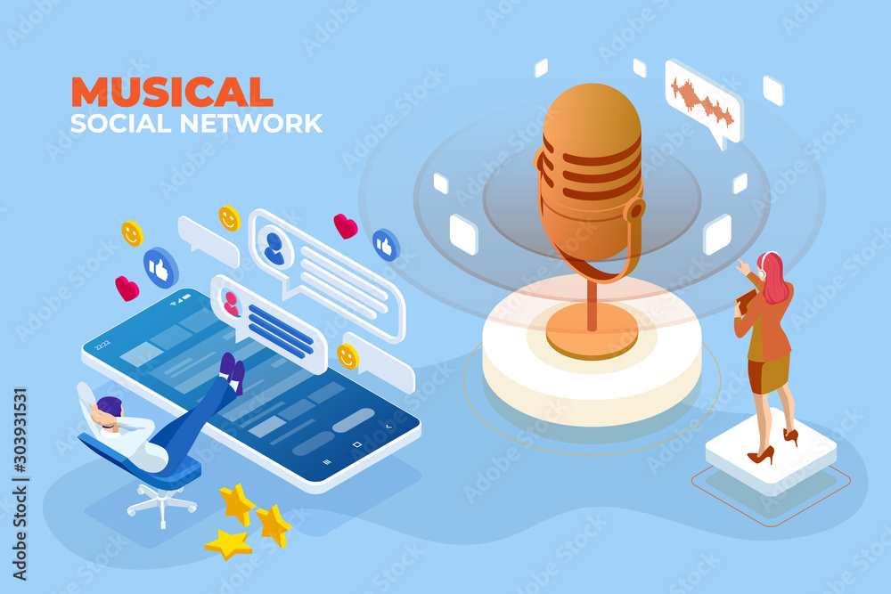 Fototapety, obrazy: Isometric Musical social network and digital sound wave concept. Musical melody design. Soundwave audio music. Voice message or recording voice.