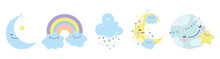 Baby Shower Moon World Cloud Rainbow Star Decoration Icons