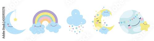 Obraz baby shower moon world cloud rainbow star decoration icons - fototapety do salonu