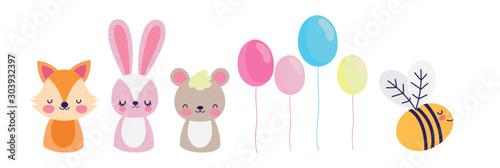cute fox rabbit bear bee balloons decoration baby shower Fototapeta