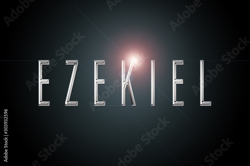first name Ezekiel in chrome on dark background with flashes фототапет