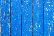 canvas print picture - background wooden old fence made of boards, blue, shabby paint, aged texture