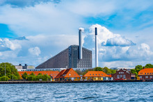 View Of Amager Bakke Factory With Skiing Slope On The Rooftop In Copenhagen, Denmark