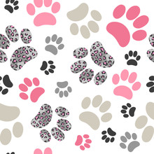 Seamless Cats Paws Pattern With Leopard Print For Kids Design.