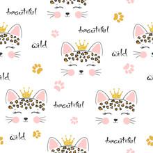 Seamless Cartoon Leopard Princess Pattern. Baby Print, Kids Textile.