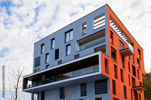 Tela Colorful Modern residential apartment and flat building exterior in Salzburg, in Austria