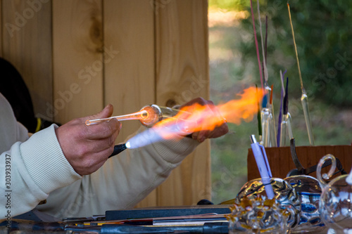 Manual manufacture of glassware with gas burner Canvas Print