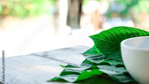 Fotografia  kratom leaf (Mitragyna speciosa) Mitragynine on wooden ,Drugs and Narcotics,Thai