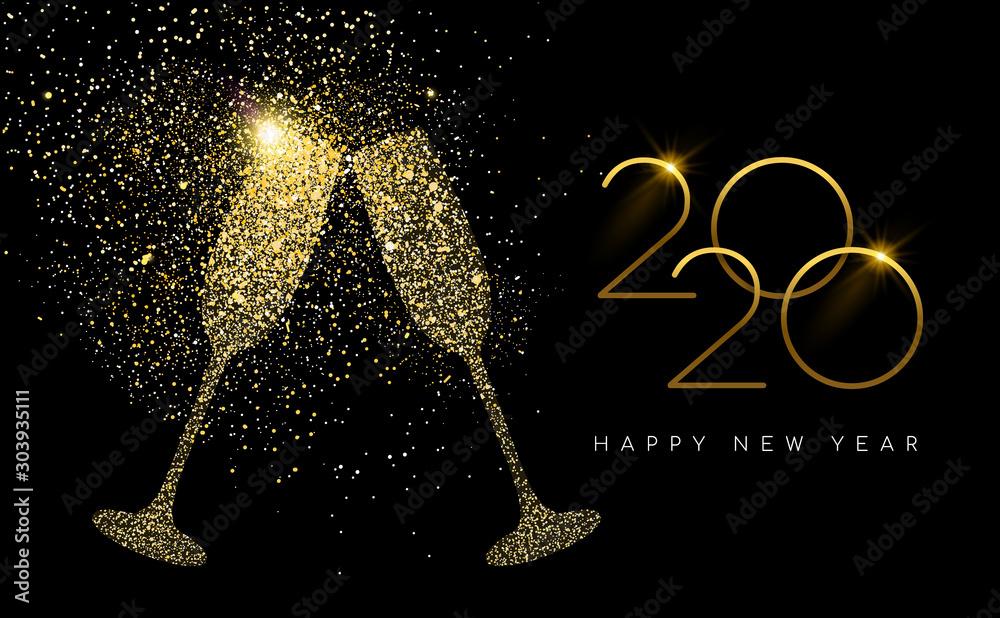 Fototapeta New Year 2020 gold glitter champagne toast card