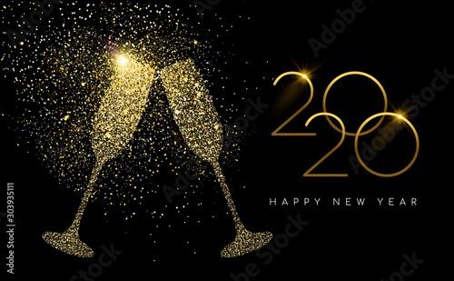 New Year 2020 gold glitter champagne toast card Fototapeta