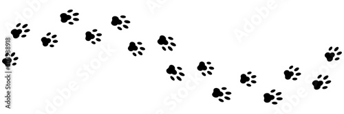 Paws print isolated vector element. Black silhouette paw dog footprint vector illustration. Abstract concept. Black cat trace. Animal footprint.