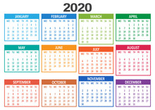 Yearly Calendar 2020. Week Sta...