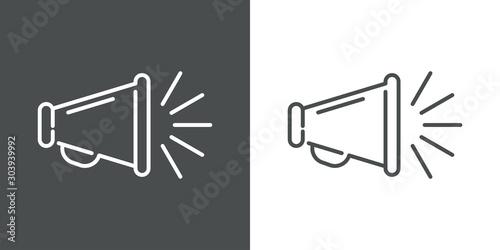 Stampa su Tela Icono plano lineal megáfono con líneas de sonido en fondo gris y fondo blanco